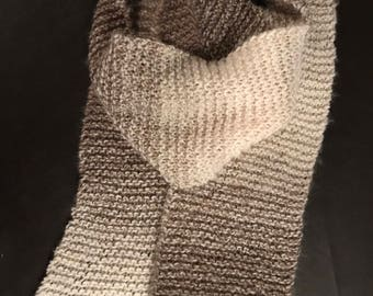 Hand knit 86 x 7 inch scarf in gradient browns and white garter stitching.