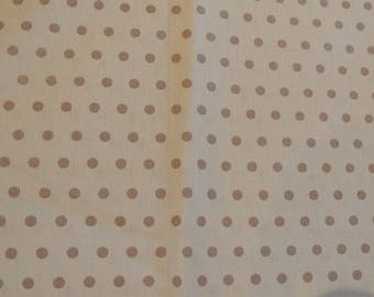 Beige tones dots pattern cotton fabric coupon