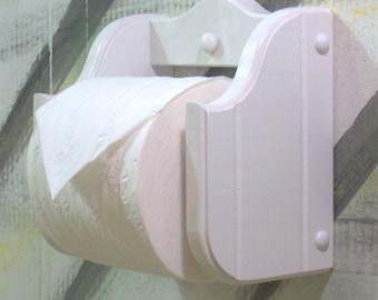 White wood toilet paper holder regular style