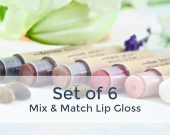 Set of 6 Organic Lip Glosses / Tinted Lip Balm Set / Natural Makeup / Mineral Makeup / Lip Tint Set / Organic Lip Balm / Natural Lip Gloss