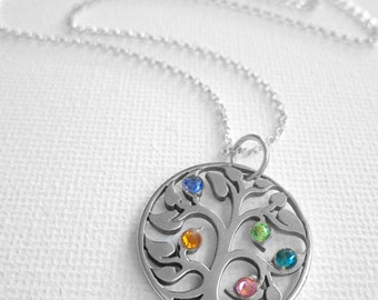 Family Tree, Family Necklace, Custom Birthstone Necklace, Family Tree Necklace, Silver Necklace, Mom Necklace, Grandmother Necklace