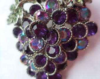 Vintage Unsigned Silvertone/AB Stones and Purple Rhinestone Bunch of Grapes Brooch/Pin  1980s