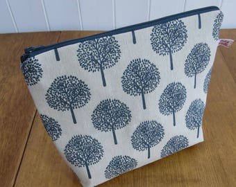 Tree Print Linen Large Cosmetic Toiletry Bag- Grey