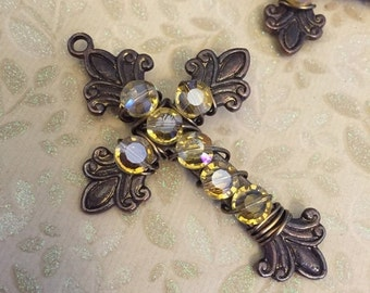 SALE Italian flea market Vintage Style Hand wire wrapped crystal encrusted rosary cross