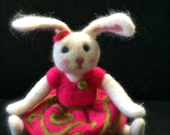 Bunny Rabbit Needle Felted CHARMING Soft Sculpture Penelope Easter Collectible