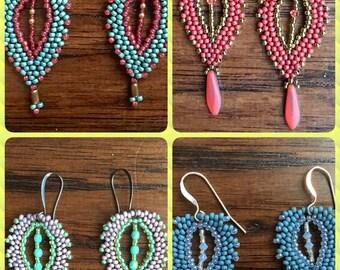 Boho Paisley Beadwoven Earrings