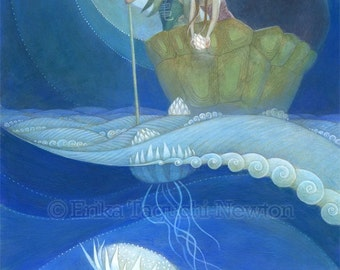 """Girl and Boy with Bear Art, 11x17 Flower Jellyfish Painting, Waves and Moon Fine Art Print, """"Moondrops"""""""