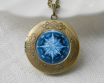 Compass Locket Necklace Art Photo Print Jewelry Locket Pendant Gift For Her (033)