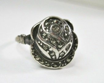 Antique Art Deco 1920s Marcasite Ring - Rose - Sterling Silver - Uncas - Cocktail Ring - Dinner Ring - As Is