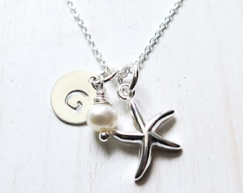 Starfish Necklace, Beach Necklace, Personalized, Sterling Silver, Nautical Jewelry, Starfish and Pearl, Bridesmaids Gift, Beach Wedding