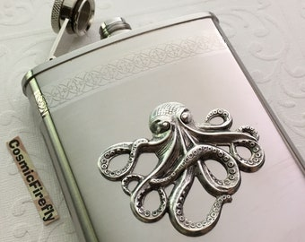 Big Octopus Flask Nautical Steampunk Style Stainless Steel With Raised Antiqued Silver Octopus Gothic Victorian Flask 8 ounce