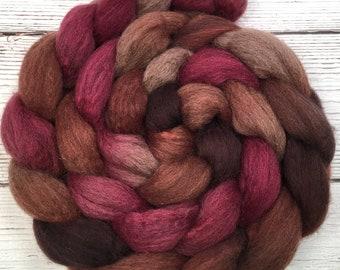 Handpainted Dark BFL Wool Roving - 4 oz. PERSIMMON - Spinning Fiber