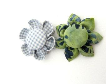 Set of 2 Flower Magnets in Blue & Green, Fridge Magnets, Magnetic, Fabric Flower, Kanzashi Flower, Bulletin Board Magnet