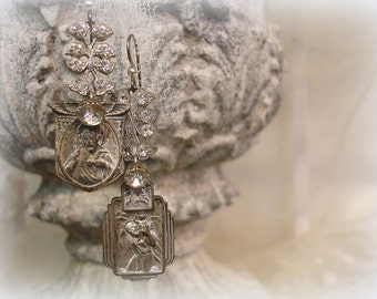 aMazing gRace one of a kind vintage assemblage earrings aged silver with rhinestones vintage holy medals + deco rhinestone links