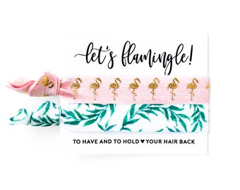 Hair Tie Bachelorette Favor | Palm Leaf + Flamingo Hair Tie Favors, Palm Leaves Hair Tie Favors, Beach Palm Trees, Let's Flamingle Hair Ties