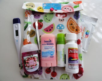 Fruit Bento Emoji Ouch Pouch Large 6x8 Clear Pocket First Aid Supplies / Car Diaper Bag Organizer Summer Travel TSA Cute Carry On Luggage