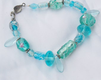 Glass Flower Blue Green Bracelet