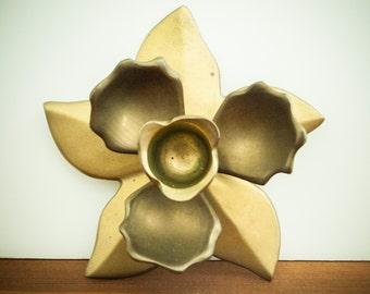 Brass Candle Holder, Flower Candle Holder, Brass Flower Candle Holder, Brass Flower Decor, Brass Decor,
