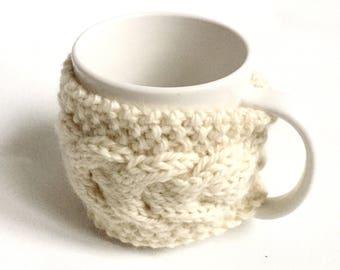 mug cozy knitted mug warmer cream cup cozy