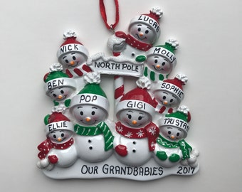 9 Snowmen Family Personalized Christmas Ornaments / Family of Nine Ornament / Snowman Family Ornament