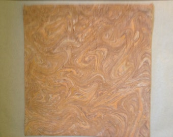 Orange and  brown marbled fabric pillow cover