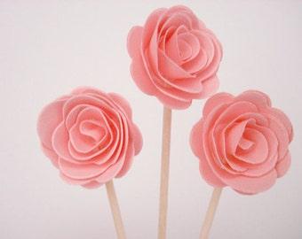 Set of 24Pcs - Blush 3D 'ROSE' Party Picks, Cupcake Toppers, Toothpicks, Food Picks