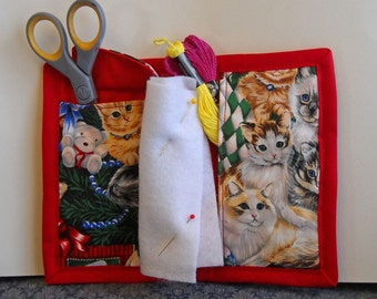 Holiday Cats Needle Book, Needle Case, Hand Sewing Organizer
