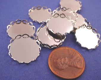 16 Silver tone Round Lace Edge Bezel Settings 15mm