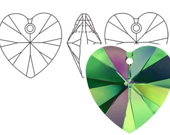 Swarovski 6228 Crystal Heart Pendant 10mm Vitrail Medium 4PC 12PC