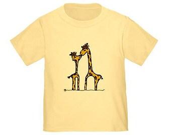 Giraffe kiss child t-shirt choose your size shirt giraffes shirt safari jungle animals giraffe lover gift custom toddler kids clothing