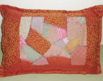 CRAZY QUILT PILLOW Burnt Orange/Scrappy, Hand Emb, American Made, 14x19 Poly Filled Insert, Envelope Style Cover, Appalachian Mtn, Complete.