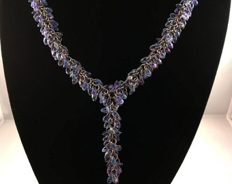 Beaded chainmaille necklace - Purple lined crystal - Statement necklace
