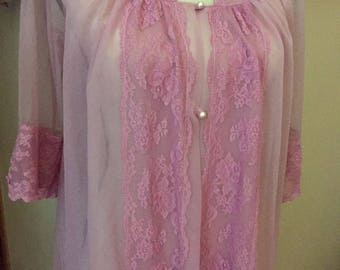 Vintage SHADOW LINE Robe Gorgeous Long Pink Sheer Peignoir SZ : S or M