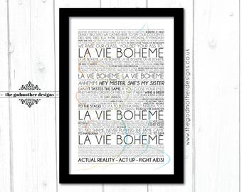 La Vie Boheme - Rent - Broadway Musical -  Lyrics - Typography - PRINT