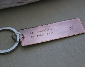 it matters to this one, the starfish story, Copper Hand Stamped Keychain, Long Rectangle,  Antiqued rustic style,  Teacher gift idea