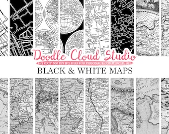 Black and white map etsy black and white maps digital paper vintage old world map city map nautical gumiabroncs Gallery