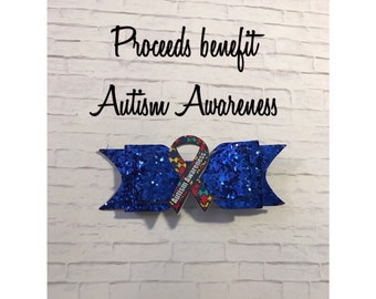 AUTISM AWARENESS * Blue Sparkle Hair Bow * (Proceeds Donated)