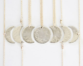 Bridesmaid Gift Set / Best Friend Necklace / Moon Phases / Moon Necklace / Bridal Party Necklaces / Moon Jewelry / Girl Squad / Bridesmaid