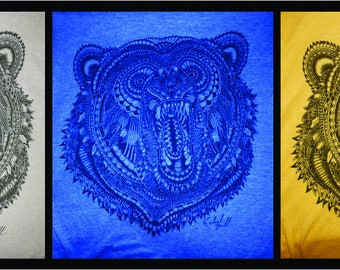 """Rachel Ball designed Canadian wildlife series T-Shirts """"GRIZZLY BEAR"""""""