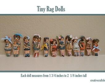Dollhouse Rag Doll, Tiny Rag Doll, Hand Sewn Doll, Dollhouse Pillow