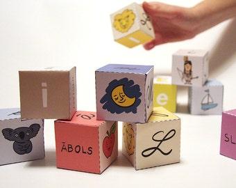 Latvian Alphabet Cubes, Papīra kubi ar latviešu alfabētu, Printable PDF Toy  - DIY Craft Kit, Paper Toy, Learn Letters, Fun learning