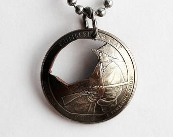 Cut Coin, Cumberland Gap, U.S. Quarter Coin Necklace, Domed Coin Pendant, Kentucky, America the Beautiful, 2016. Coin Jewelry by Hendywood