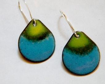 Torch fired copper enameled tear drop earring