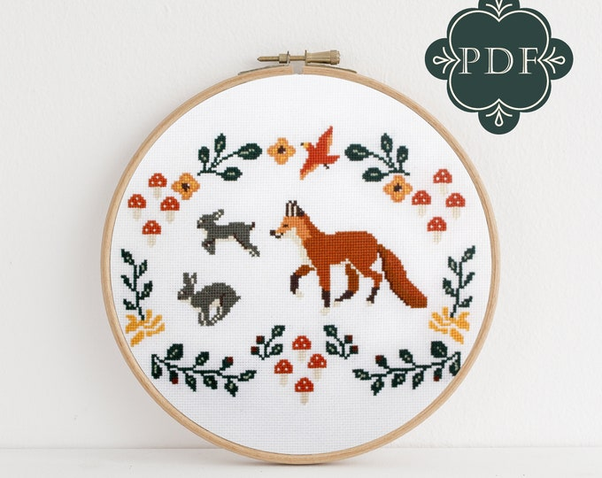 PDF Counted Cross Stitch - Fox and Rabbits / woodland cross stitch, embroidery, pattern, gift,  supply, instruction, bunny, fox cross stitch