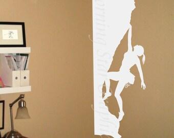 Decal, Extreme Sports, Rock Climbing, Female Climber Vinyl Decal Sticker, Interior Design, Room Decor, Home Mural Art  SP-119