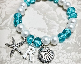 CP2, Personalized Starfish Bracelet w/ Initial, Flower Girl Bracelet, Starfish Bracelet, Junior Bridesmaid Bracelet, Beach Wedding, Shell