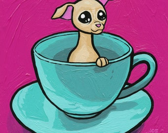 Puppy in a Cup Archival Print