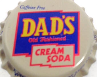 Soda bottle caps, tops, pop, NOS, 100 collectible same, Dad's Cream Soda, beverage, craft, decorate, jewerly, free shipping