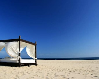 VENTE : photographie de plage (Los Cabos voyage photographie murale art décoration photo imprimer vacances d'été bleu ciel doré sable blanc cabane)