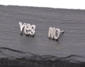 Sterling Silver Mismatched Yes and No Stud Earrings  - Fun and Quirky Design Y39